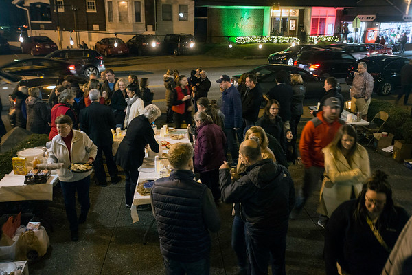 A flurry of constant foot traffic attracted to live music, cookies and cider was the scene in front of St. James Church during the 32nd Annual Bardstown Road Aglow. 12/2/17