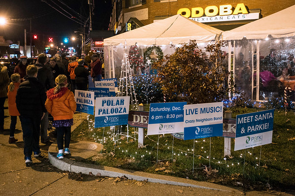 A new area known as Polar Palooza featured a tent with live music and photo opps with Santa at the southwest corner of Eastern Parkway during Bardstown Road Aglow. 12/2/17
