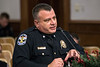 LMPD Assistant Chief of Police Robert Schroeder, and currently the Commander of the Administrative Bureau, answered questions during the department's annual crime report to the Louisville Metro Council. 12/6/17