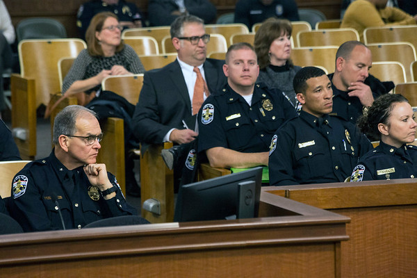 LMPD Chief Steve Conrad was surrounded by his command staff and other officers when he appeared before the Louisville Metro Council on Wednesday afternoon to discuss 2017 crime statistics. 12/6/17