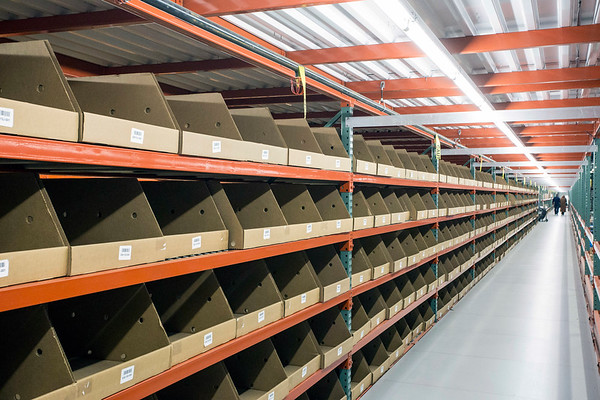 Shelves used for sorting extend as far as the eye can see at Radial Fulfillment & Distribution. 12/8/17