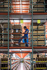 The multi-storied storage warehouse at the Radial Fulfillment & Distribution facility stays active with workers constantly moving product for shipping. 12/8/17