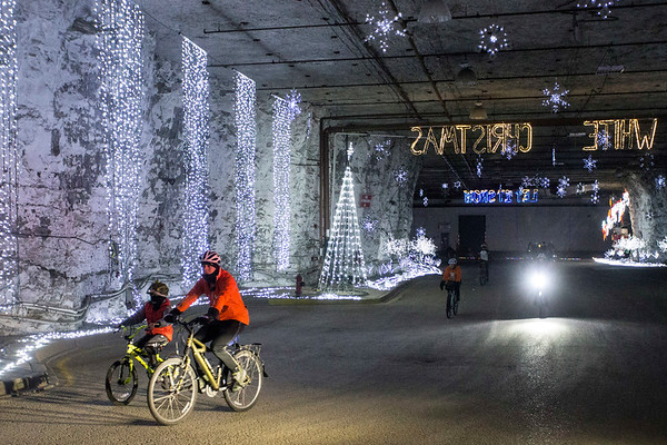 Cyclists of all ages toured the Lights Under Louisville exhibit at the Mega Cavern on Saturday as part of an annual ride organized by the Louisville Bicycle Club. 12/9/17