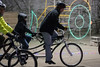 A man and child navigate the Louisville Mega Cavern on a bicycle built for two as part of an annual holiday ride organized by the Louisville Bicycle Club. 12/9/17