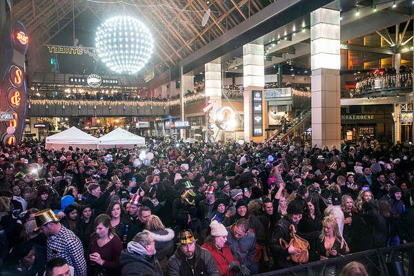 Fourth Street Live hosted the only ball drop at midnight party for a few thousand people in attendance on New Year's Eve. 12/31/17