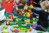 Children were encouraged to collaborate in the Big Brick Pile corner of the Brick Universe LEGO Convention. 1/6/18