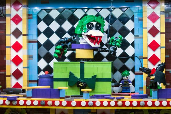 Batman battles a moving monster in the Joker's Funhouse. The 24,500 LEGO brick set took artist Paul Hetherington 215 hours to complete. 1/6/18