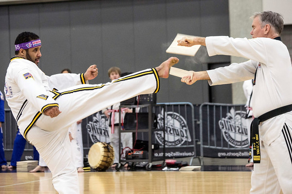 Board-breaking skills were on full display by the Hwang's Martial Arts Academy during Sports Fest. 1/7/18