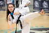 Jean Gray of Hwang's Martial Arts Academy shows off her high kick during a demonstration at Sports Fest. 1/7/18