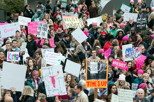 Several thousand gathered in the courtyard at the Ali Center on Sunday for the Louisville Women's Rally on the one year anniversary of the national rallies that followed the Trump inauguration. 1/21/18