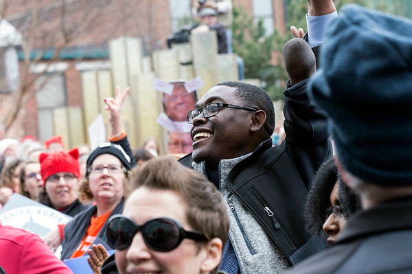 Recently appointed District 21 Metro Councilman Vitalis Lanshima was one of several local politicians and officials in attendance at the Louisville Women's Rally on Sunday. 1/21/18