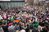 The courtyard at the Ali Center was brimming with a crowd gathered for the Louisville Women's Rally on Sunday as guest speakers delivered fiery speeches about gender equality issues in America. 1/21/18