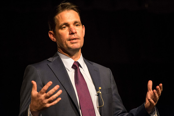 JCPS superintendent finalist Dr. Marty Pollio answered questions from the public during an open forum at Central High School on Thursday night. 1/25/18
