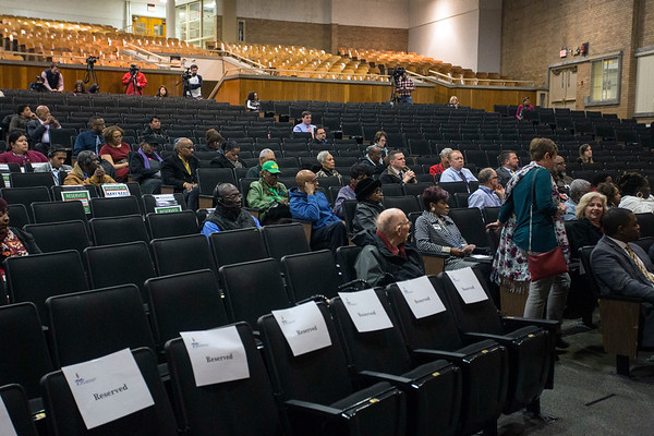 A few dozen people showed up at Central High School on Thursday night for a round of questions with JCPS superintendent finalists Dr. Michael Raisor and Dr. Marty Pollio. 1/25/18