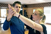 Actor Ryan Devlin rehearses with dance instructor Jennifer Henderson at Derby City Ballroom on a Tuesday morning. 1/30/18