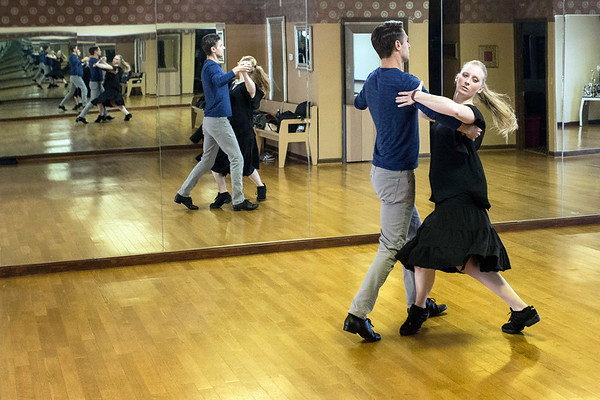 Movie and TV actor Ryan Devlin practiced his dance moves with instructor Jennifer Henderson at Derby City Ballroom on Tuesday morning. 1/30/18