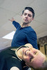 Ryan Devlin dips Derby City Ballroom dance instructor Jennifer Henderson during a Tuesday morning rehearsal. 1/30/18