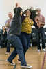 The husband and wife team of Chris and Elizabeth Schoenfelder show off their moves during a swing dance class at Highlands Community Ministries. 1/30/18