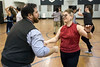 Patrick Draus and Babs Cornett break it down on the dance floor during a swing class at Highlands Community Ministries. 1/30/18