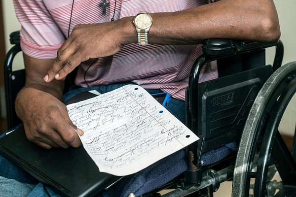 """Byron """"Roc"""" Peeler works on putting his life story on paper now that he has a place to call home after four years on the streets. 2/13/18"""