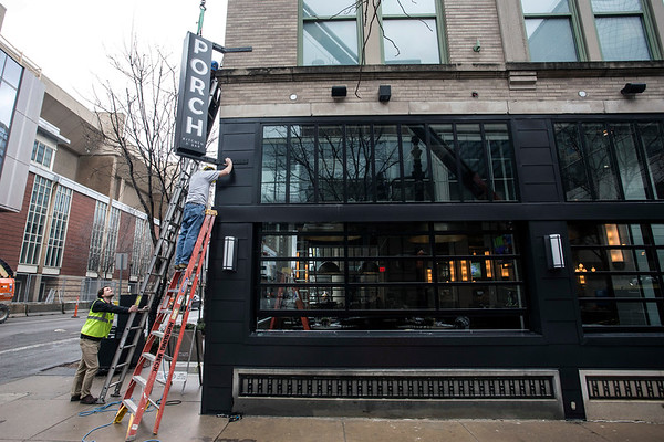 Rueff Signs installed the new Porch Kitchen and Bar sign at the corner of 3rd & Jefferson on Thursday morning. 2/15/18