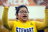 Little Claudia G of the Stewart Home School lead her team during the Special Olympics Kentucky cheerleading competition. 2/17/18