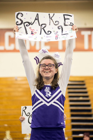 Kassie Douglas of the Louisville Royals team pumps up the crowd during the Special Olympics Kentucky cheerleading competition. 2/17/18