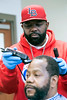 Barber J. Alexander, aka Divine C.U.T.S, provides free hair cuts to anyone in need of one at Wayside Christian Mission on a recent Sunday afternoon. 2/18/18