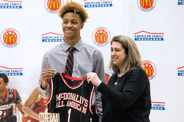 6da2852efe8 New Albany basketball standout Romeo Langford received his McDonald s All- American jersey on Thursday afternoon