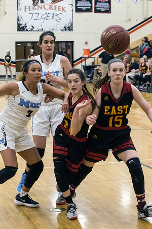 Mercy Academy and Bullitt East High School battled for the 24th District title on Thursday night at Fern Creek High. Mercy prevailed with a final score of 83 to 71. 2/22/18