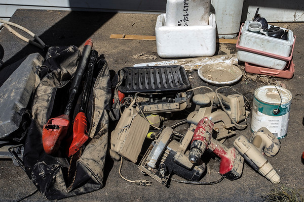 A pile of power tools in Tina Lockard's West Point, KY home were casualties to the rising floodwaters of the past week. 3/3/18