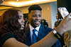 Penn State running back Saquon Barkley granted a few photo ops to his fans at a VIP reception before the Paul Hornung awards. 3/7/18