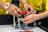 The team from Stopher Elementary made adjustments to their robot during the RXC challenge at the KDF RoboRumble Regional Robot Competition. 3/10/18