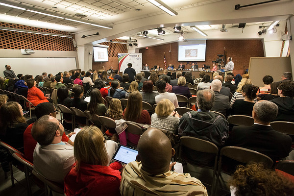 The Van Hoose Center was packed to capacity as speakers lined up to address the JCPS board on Tuesday night. 3/27/18