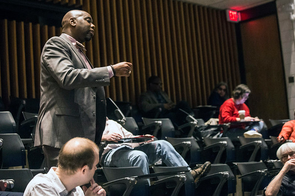 Dr. Ricky Jones urged his colleagues at UofL to stand strong and support the state's public school teachers as controversial bills are pushed or passed in Frankfort effecting professional educators. 3/30/18