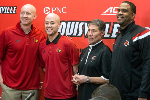 Coaching staff for the 2018-19 UofL mens basketball program were formally introduced on Monday afternoon. Pictured from left to right with head coach Chris Mack are Luke Murray, Mike Pegues, and Dino Gaudio. 4/9/18