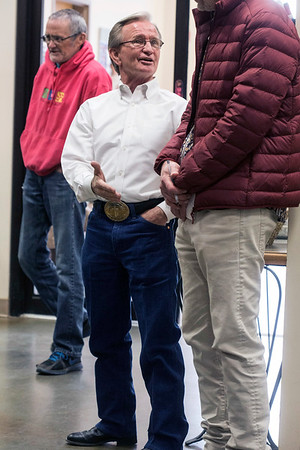 Hall of Fame jockey Pat Day mingles with the crowd in attendance at a Monday night service in the Christ Church Chapel on Churchill Downs' backside. 4/9/18