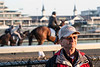Legendary jockey Pat Day can be found in conversation during morning workouts at Churchill Downs. 4/11/18