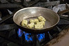 Herb gnocchi is cooked and added to the lobster cream in the opening steps of a Brown Hotel 2018 Derby dish. 4/11/18