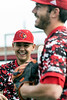 UofL's Zeke Pinkham and Ben Bianco stay loose and relaxed before a game against Virginia. 4/22/18