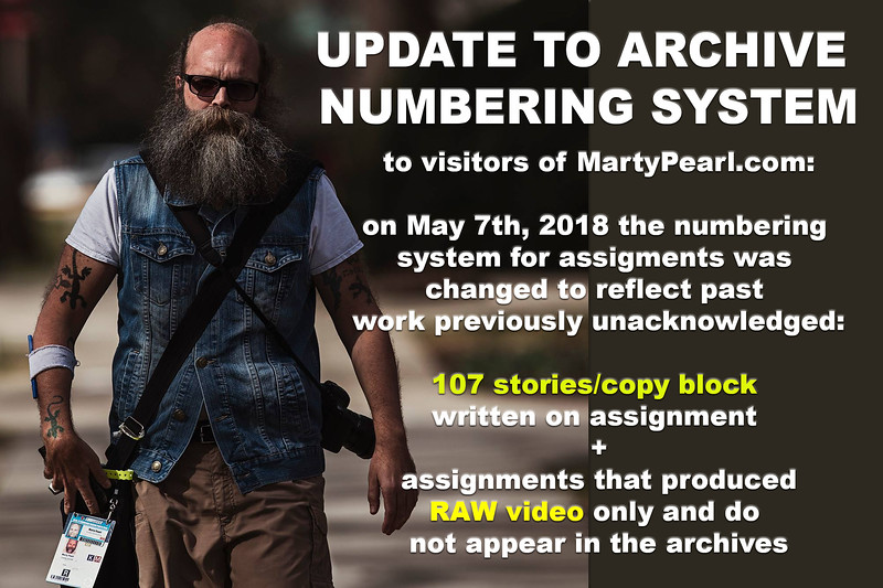 Due to an increase in writing and raw video production, the archives will now reflect past assignments of these nature and from this date onward. Occasional gaps may occur in title sequencing as a result of future writing and raw video assignments too.