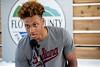 Romeo Langford thanked those gathered for the honor of having the basketball court at Kevin Hammersmith Park named after him. 5/11/18