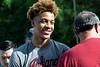 New Albany legend Romeo Langford greets guests at Kevin Hammersmith Park on Friday during a ceremony naming the basketball court after him. 5/11/18