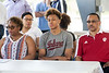 Romeo Langford sat flanked by family during a groundbreaking ceremony in Kevin Hammersmith Park that will feature a basketball court named after the New Albany High standout. 5/11/18