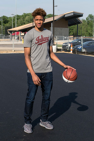 New Albany High standout and IU commit Romeo Langford dribbled a basketball on the court named after him during a groundbreaking ceremony at Kevin Hammersmith Memorial Park on Friday evening. 5/11/18