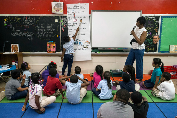 Wheatley Elementary teacher NyRee D. Clayton-Taylor uses hip hop and dance in the classroom to practice fluency and reading. 5/17/18
