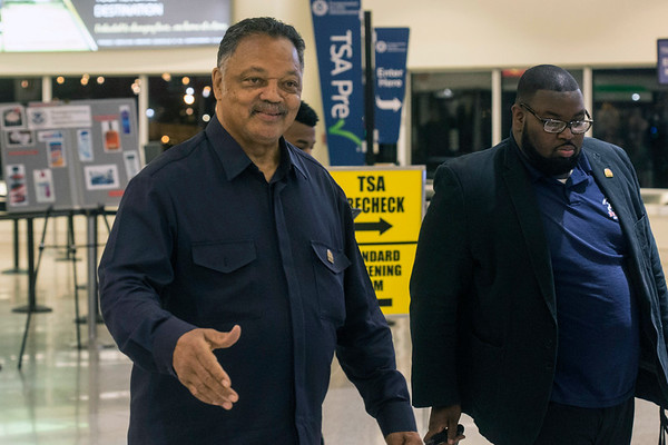 Civil rights movement icon Jesse Jackson greeted fans at Louisville International Airport upon his arrival Tuesday night. 5/22/18