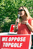 Elizabeth Ferreri spoke on behalf of the group Louisville Neighbors for Responsible Growth during a Wednesday rally opposing the planned TopGolf at Oxmoor Center. 5/23/18