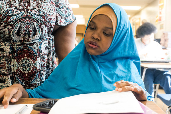 Iroquois High School senior Fardowsa Sharif prepares to take another final exam during her last week as a student before graduation. 5/24/18
