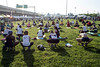 Early arrivals to the Hike, Bike & Paddle participated in yoga on the Great Lawn at Waterfont Park on Monday morning. 5/28/18